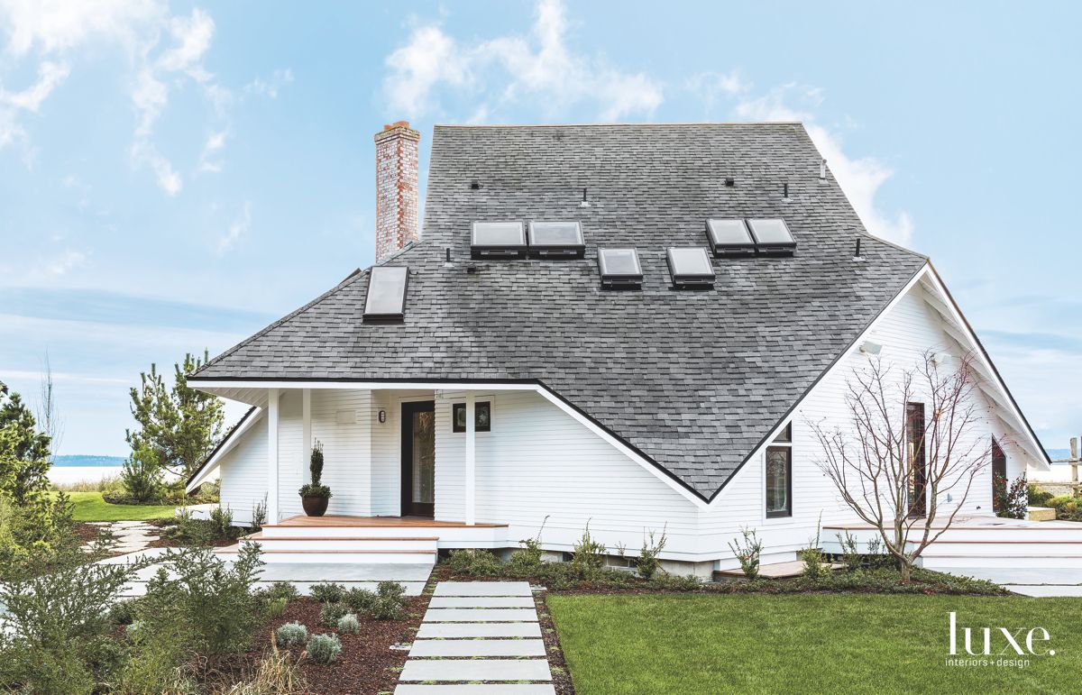 A-Line Roof White Siding Home Exterior