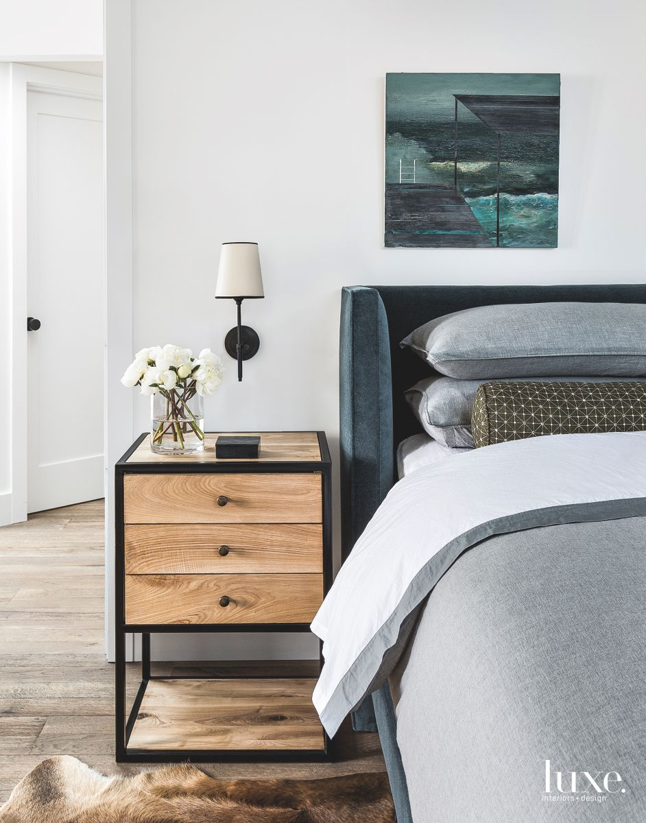 Simple and Clean Master Bedroom with Wooden Nightstand and Artwork