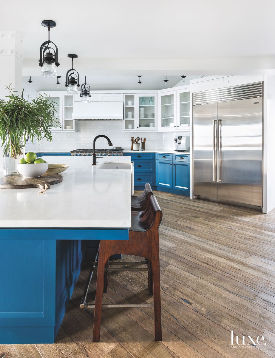 Kitchen Blue Cabinets with Wooden Stools