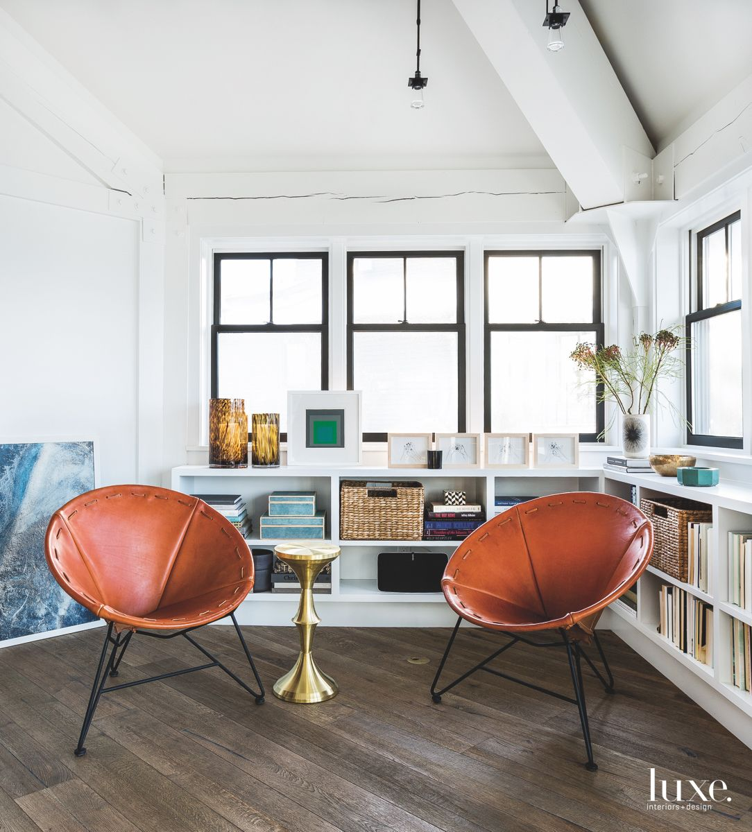 Round Leather Chair Reading Area Library Bookshelf