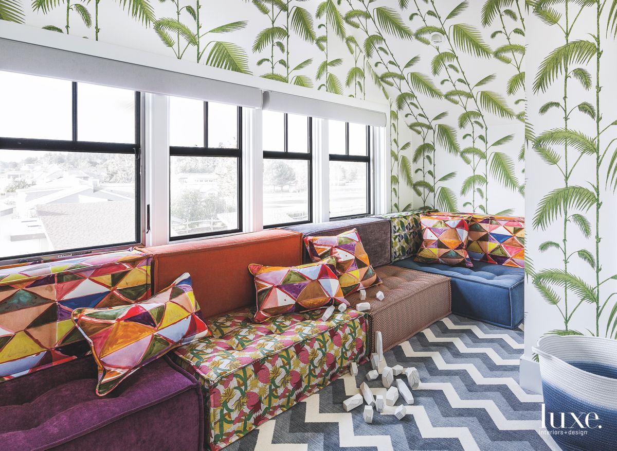 Palm Frond and Chevron Playroom with Patterned Fabric Couch