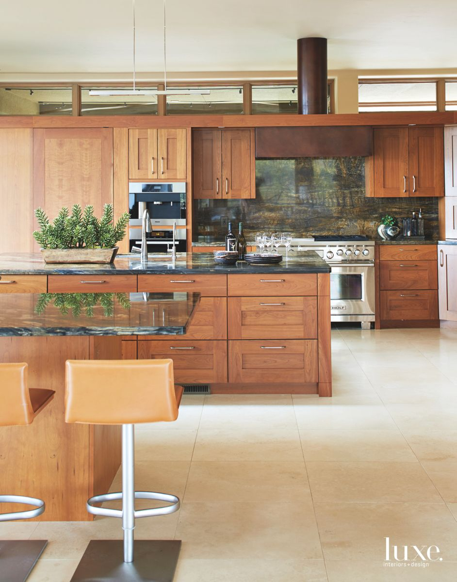Cherry Wooden Cabinetry Arizona Kitchen with Clerestory Windows