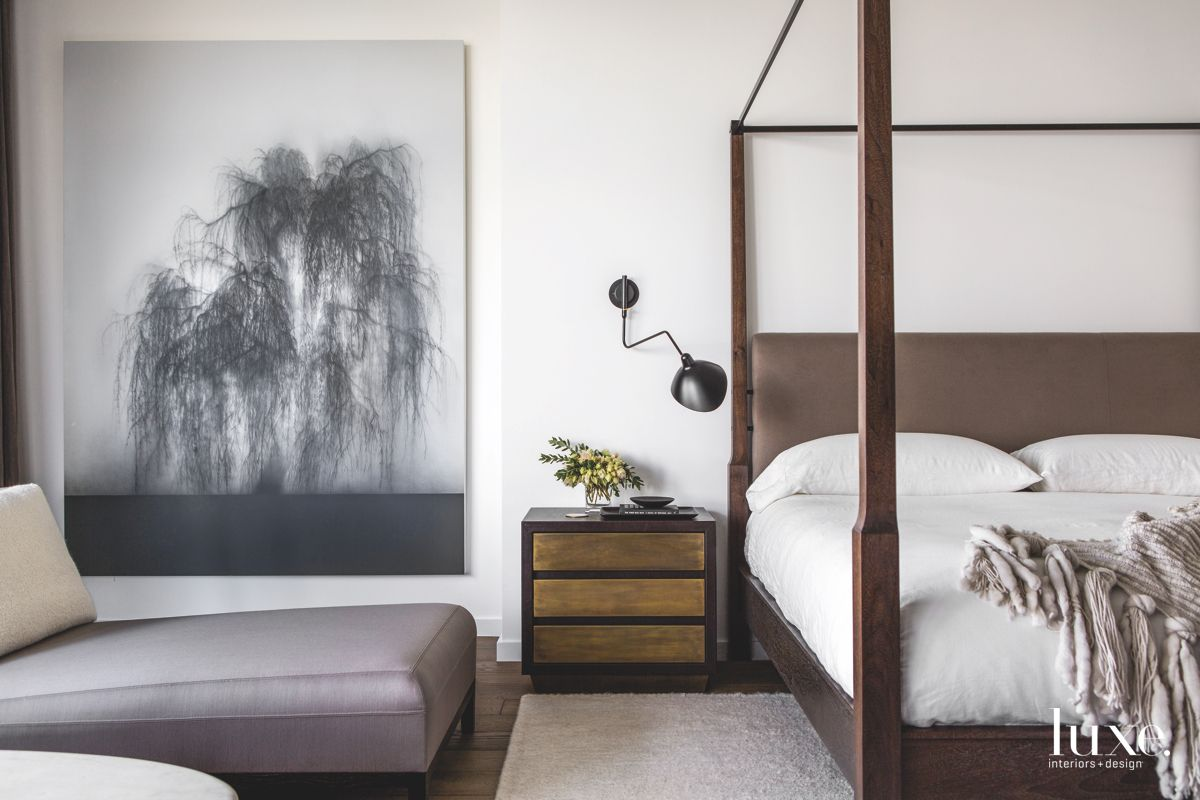 Four Poster Bed with Tree Artwork Master Bedroom