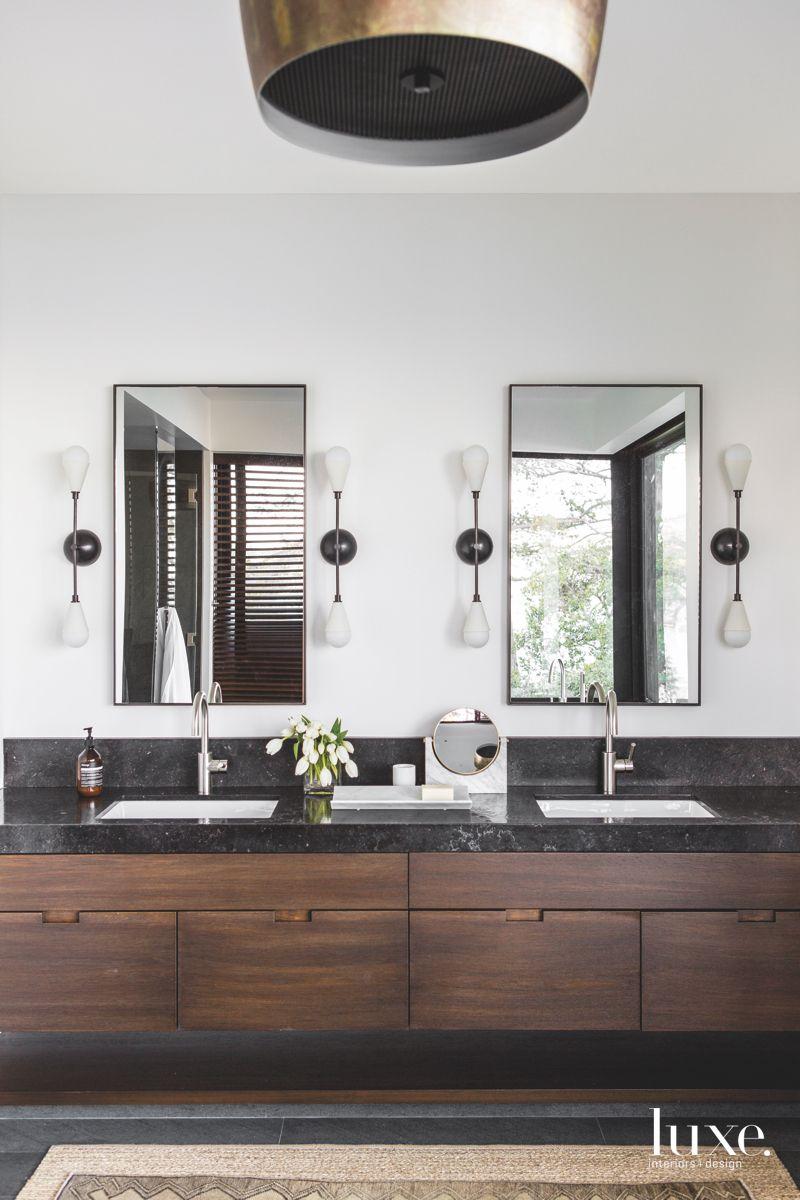 Metallic Dangling Sconce with Twin Mirror Master Bathroom