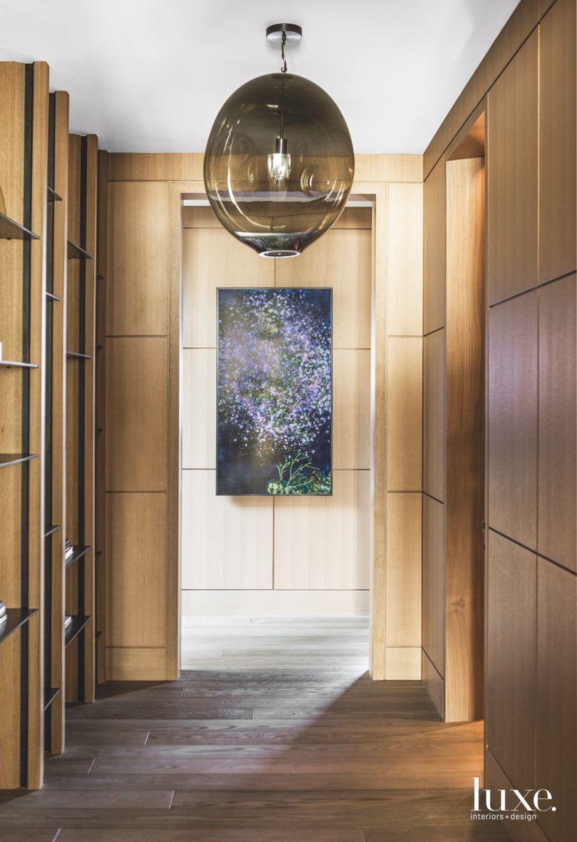 Translucent Glass Pendant Wooden Hallway