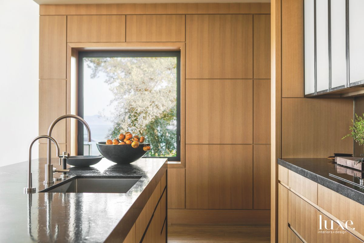 Geometric Wooden Kitchen with Sink and Fruit