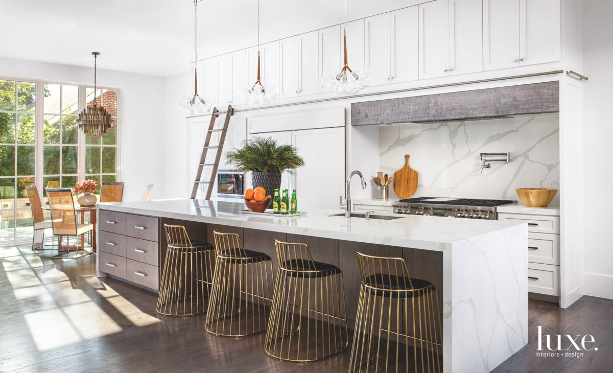 White and Brown Kitchen with Bubble Chandeliers and Brass Extras