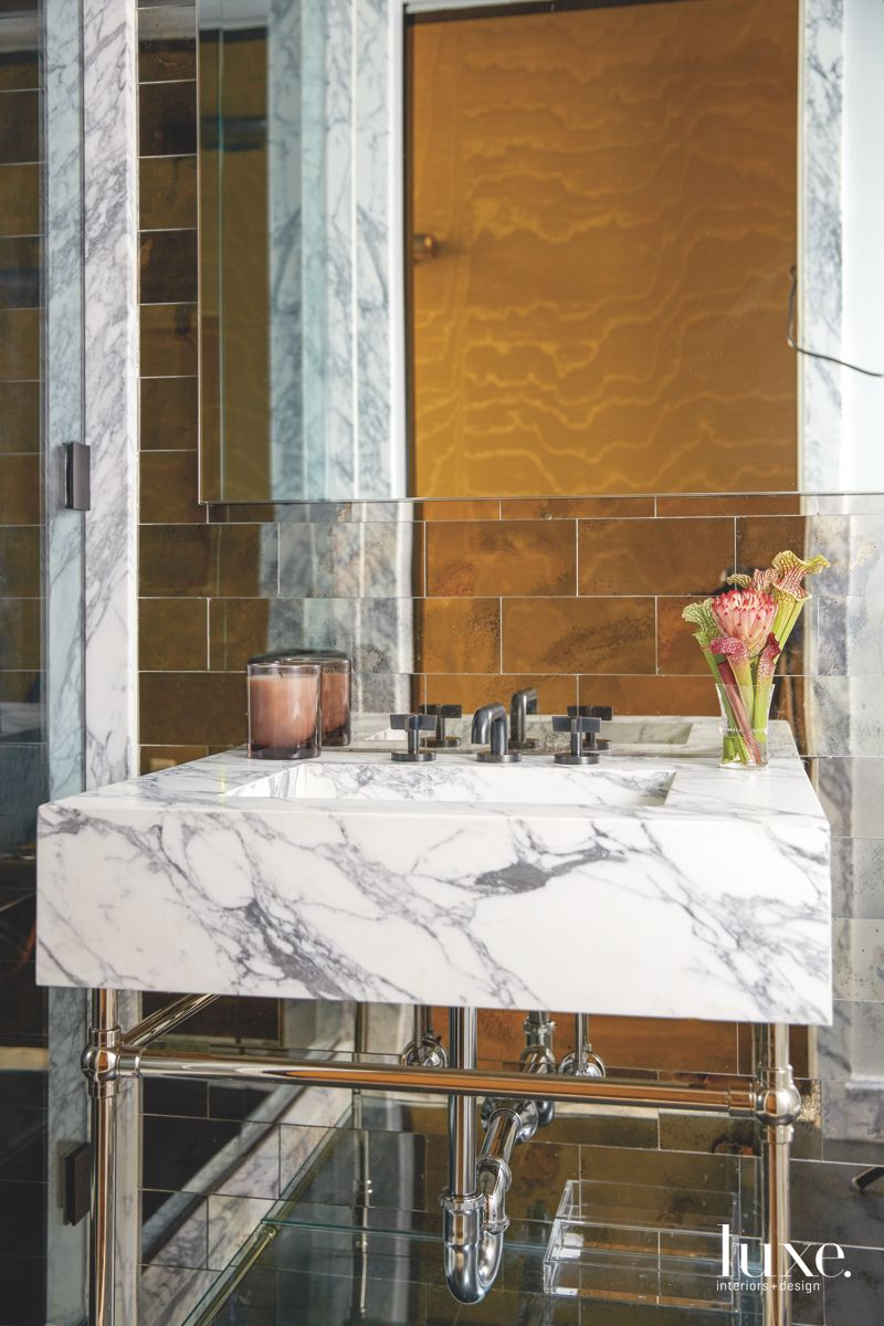Colorful Powder Room with Dramatic Touches