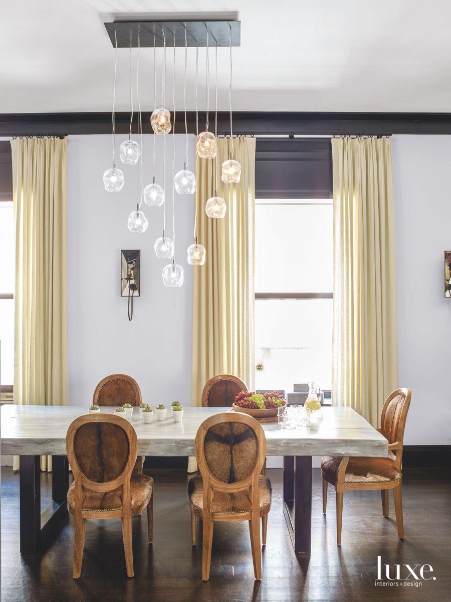 Purple Vintage Rug and Custom Infinity Cluster Chandelier in the Dining Room