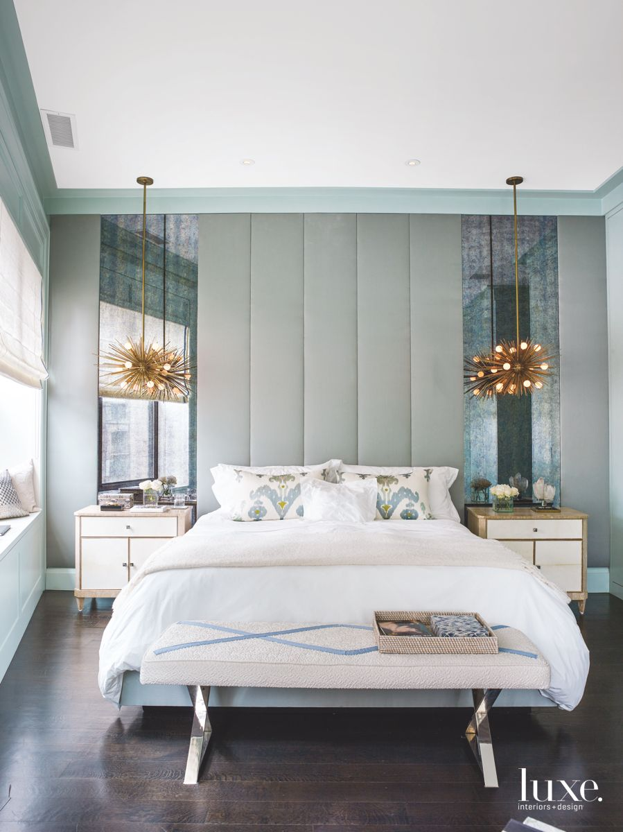 Calming Master Bedroom with a Touch of Glamor
