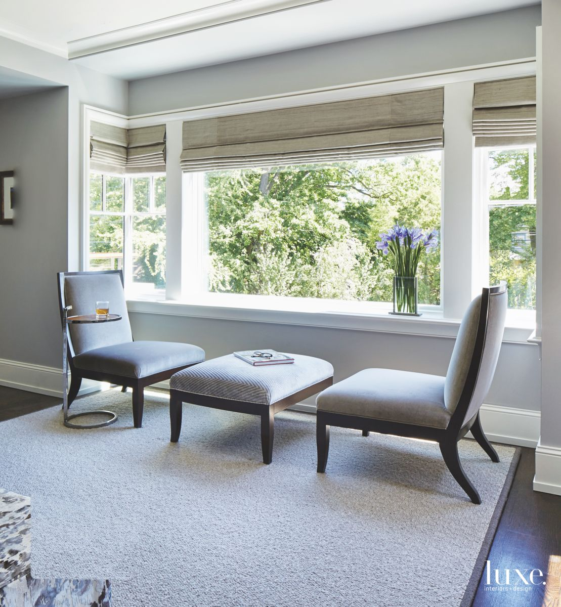 Master Suite Seating Area with Neutral and Gray Accents and WIndow