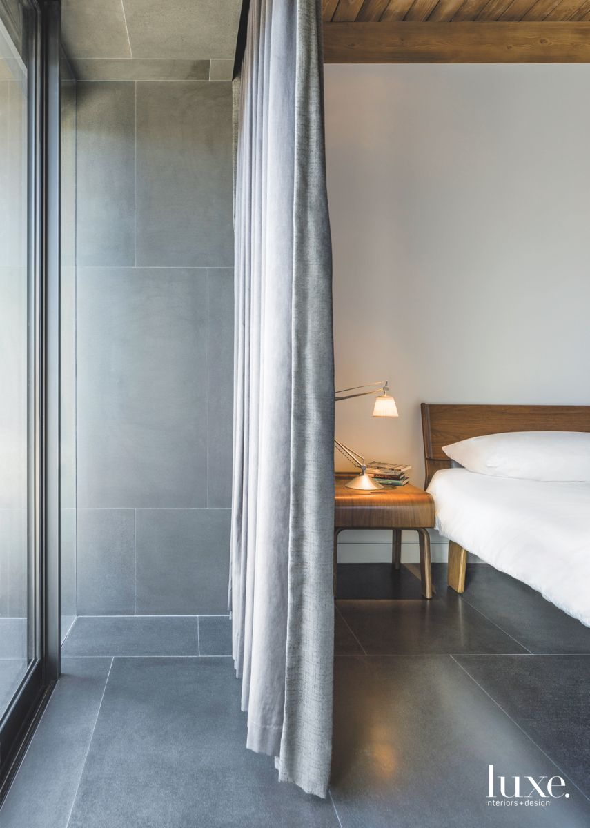 Gray Curtain Master Bedroom with Side Table Lamp