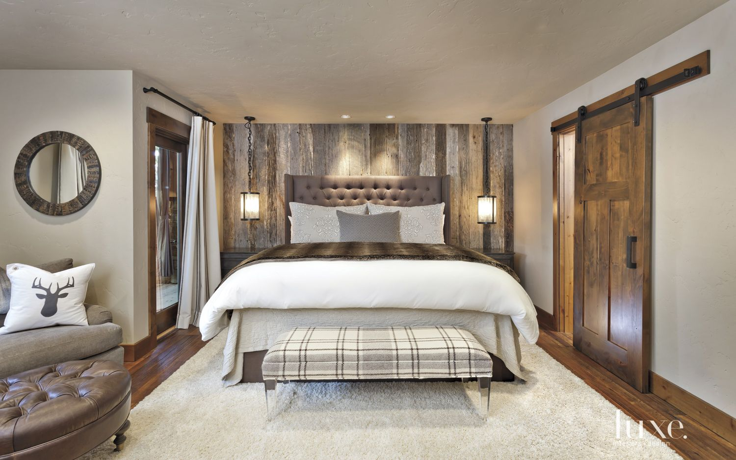White Mountain Bedroom with Barn Door