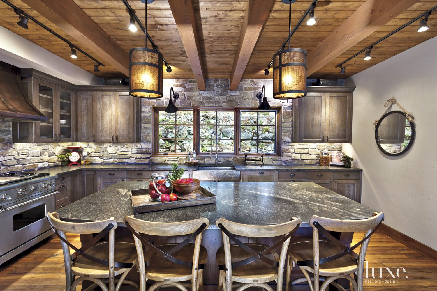 Neutral Mountain Kitchen with Stacked Stone Backsplash