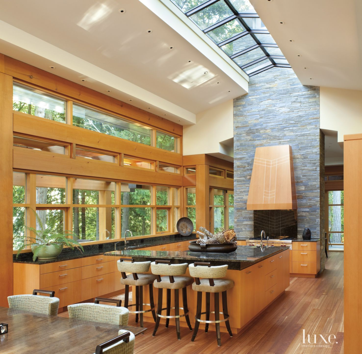 Contemporary Neutral Kitchen with Vaulted Skylight