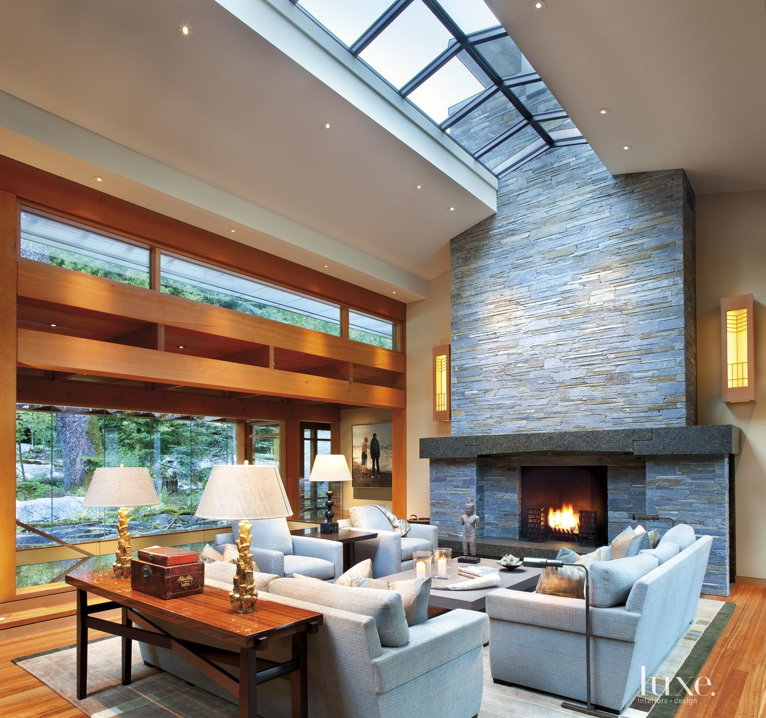 Contemporary Neutral Living Room with Vaulted Skylight