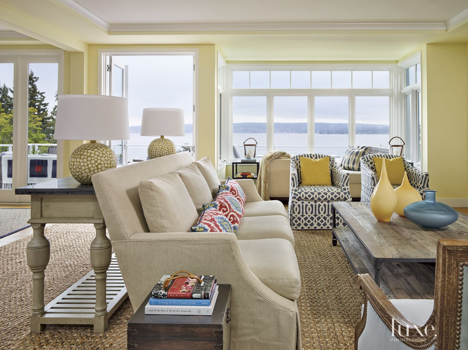 Contemporary Yellow Living Room with Colorful Patterns