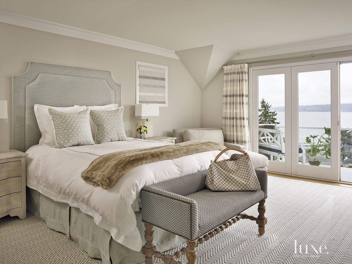 Contemporary Gray Bedroom with Fur Throw Blanket