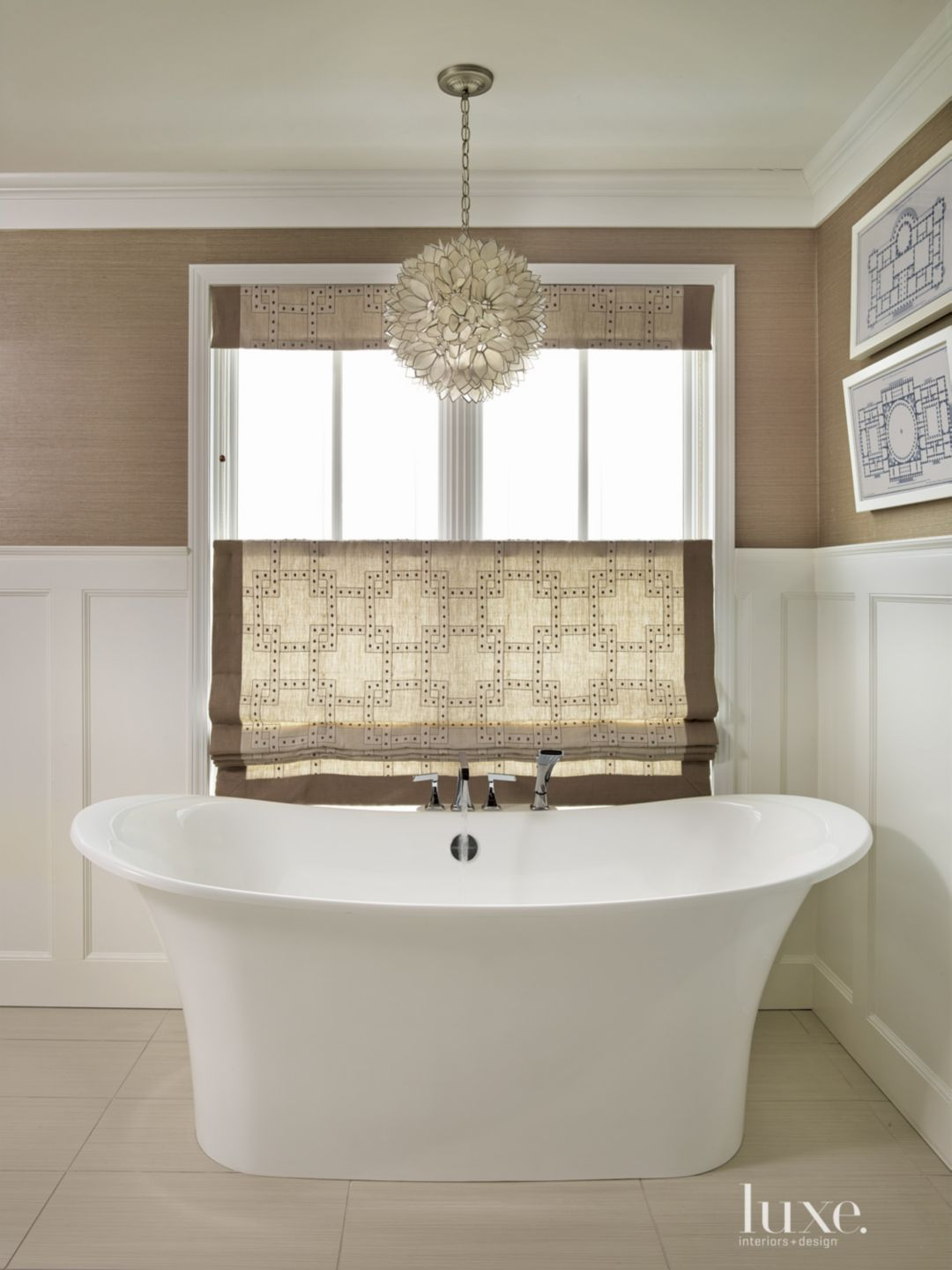 Contemporary Brown Bathroom with Wainscoting