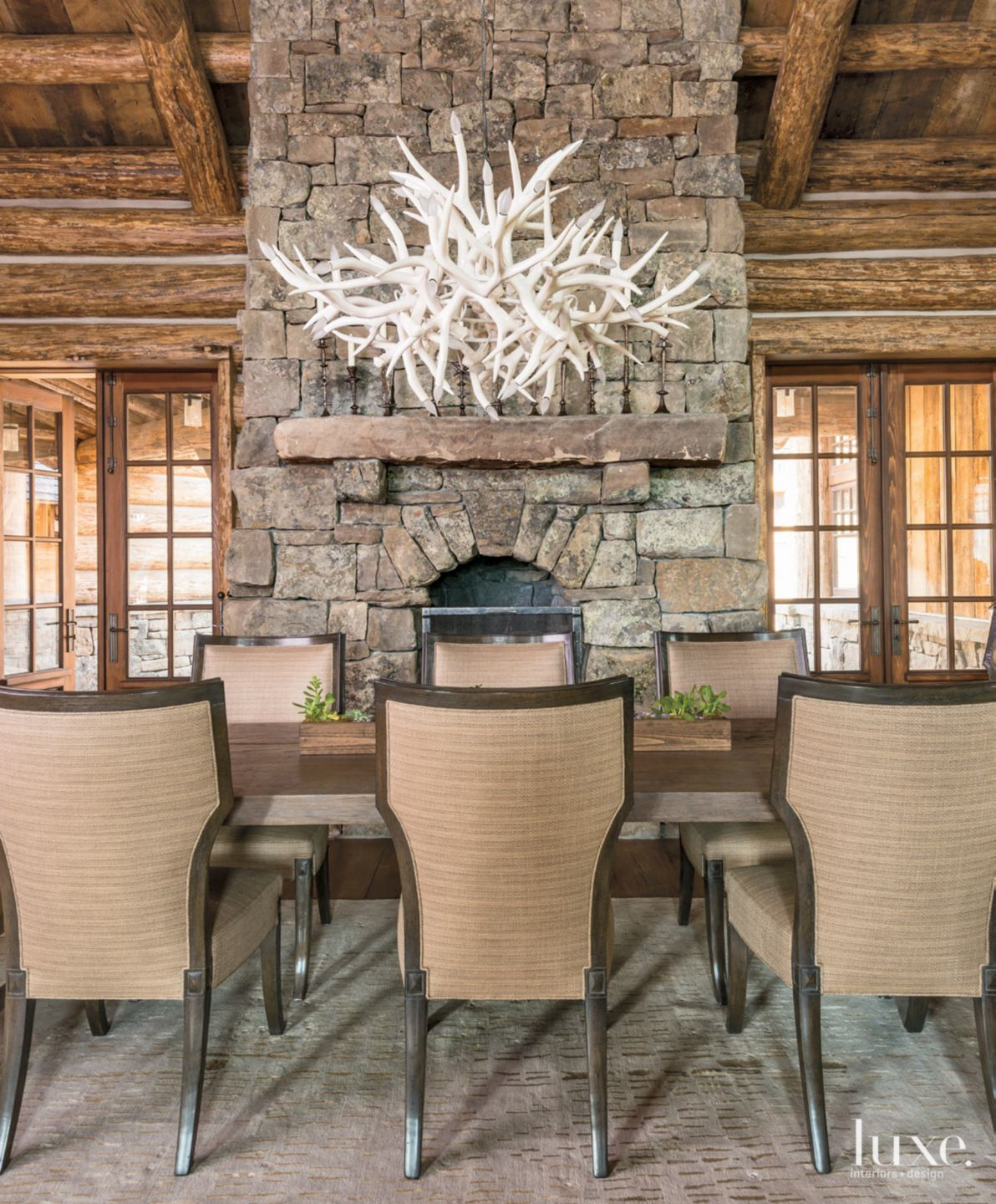 Mountain Neutral Dining Room with Ceramic Antler Chandelier