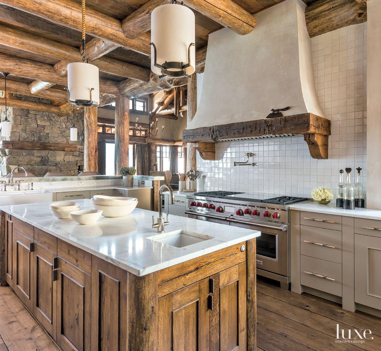 Mountain Neutral Kitchen with Custom Plaster Hood