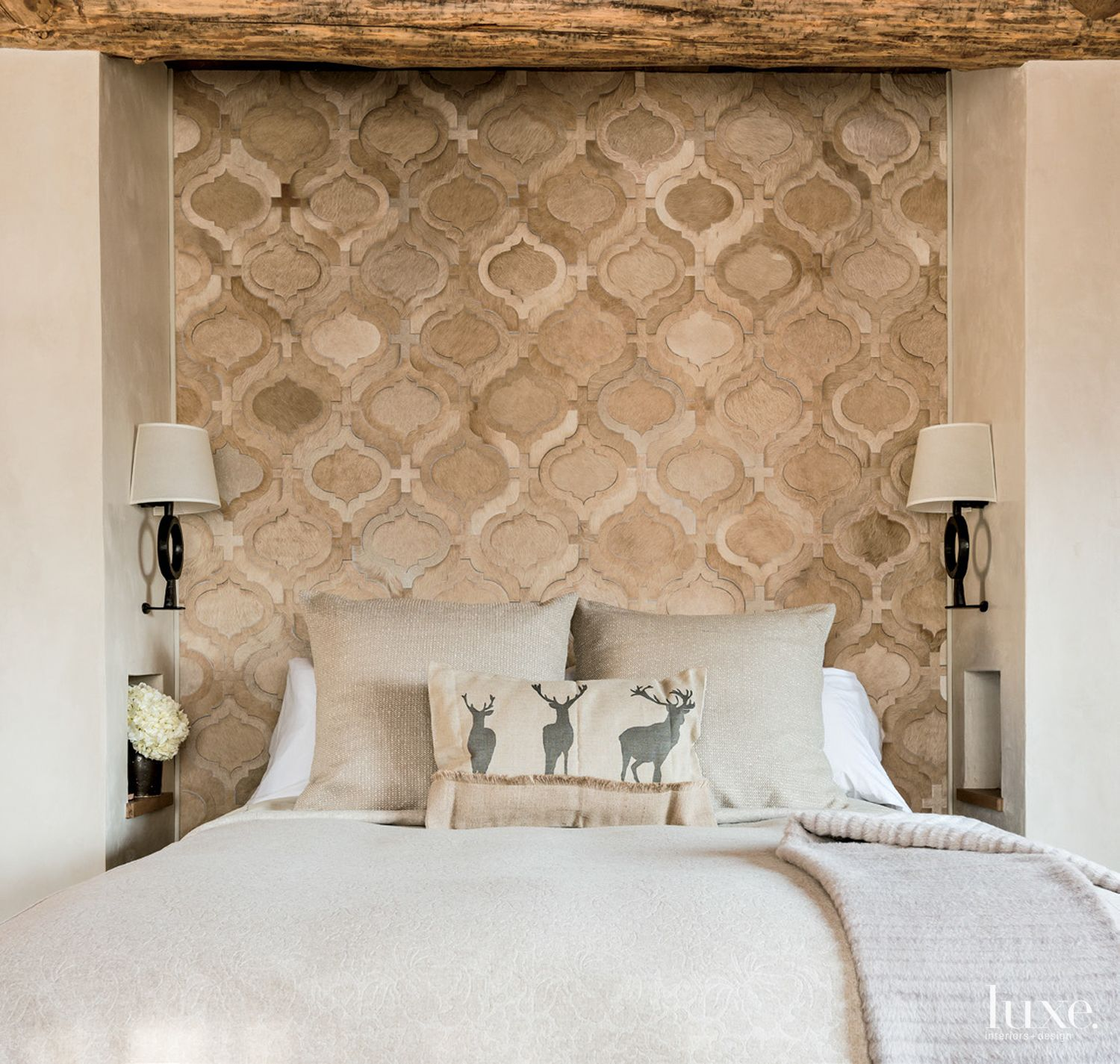 Mountain Neutral Bedroom with Hair-on-Hide Headboard