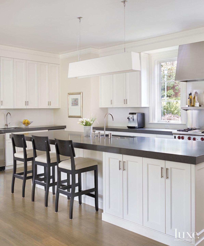 Contemporary White Kitchen with Quartz Countertops