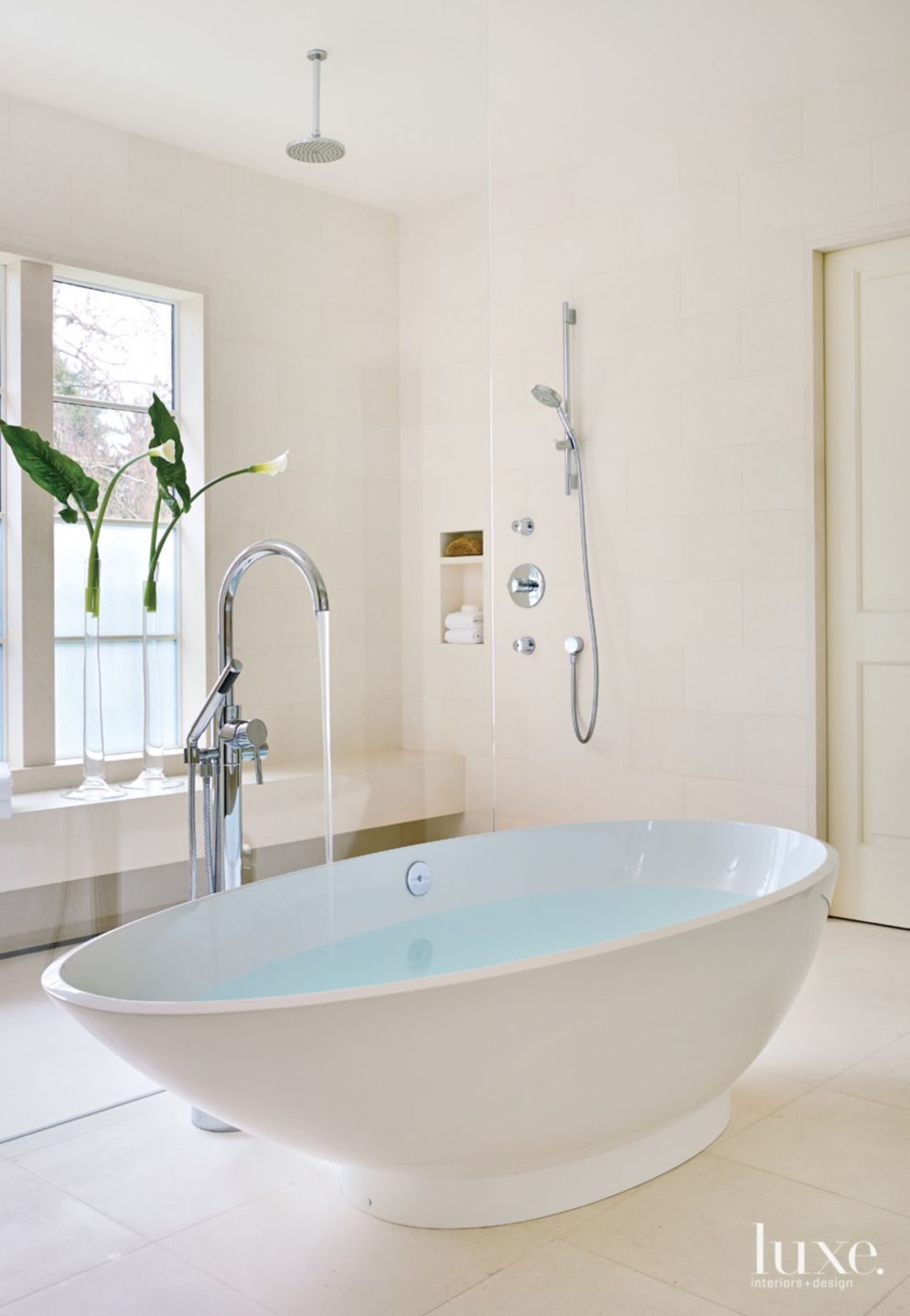 Contemporary White Bathroom with Sculptural Tub