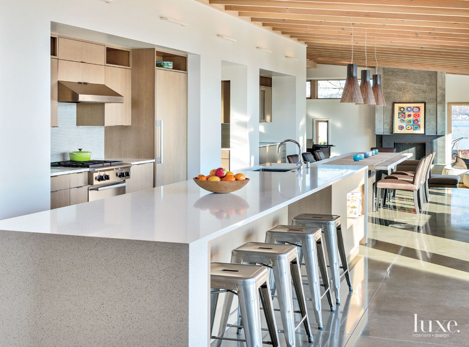 Modern White Kitchen With Rift Cut Oak Cabinetry Luxe Interiors Design