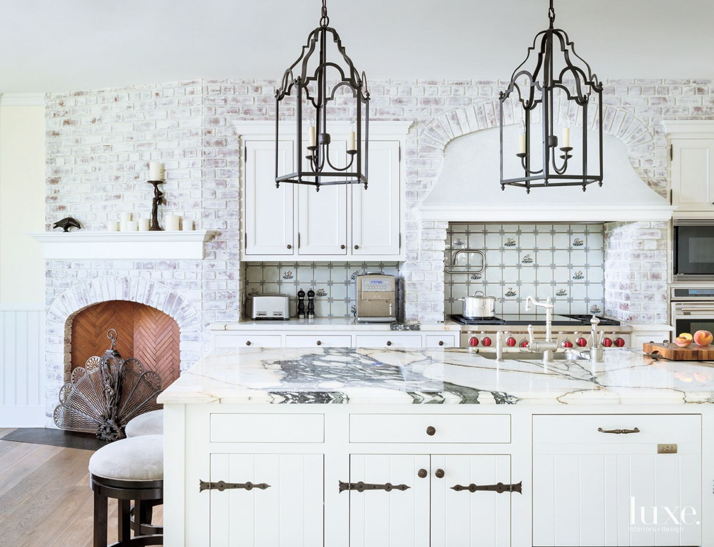 Traditional White Kitchen with Delft Tile Backsplash