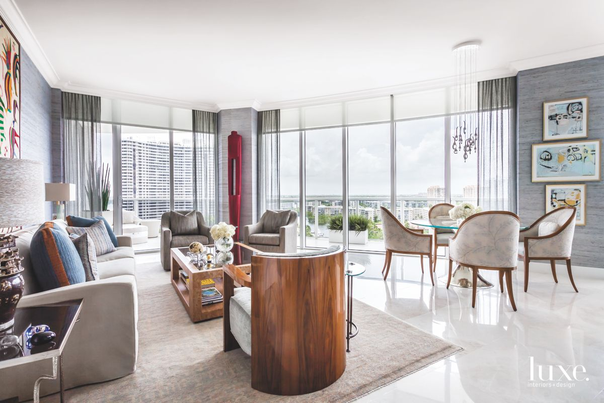 Gray Living Room with Miami View and Red Contemporary Artwork