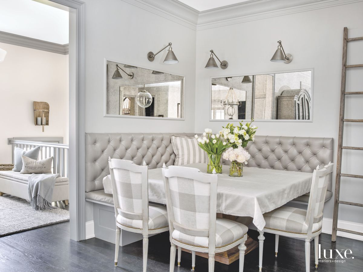 Breakfast Nook Trio of Gray Plaid Upholstered Chairs