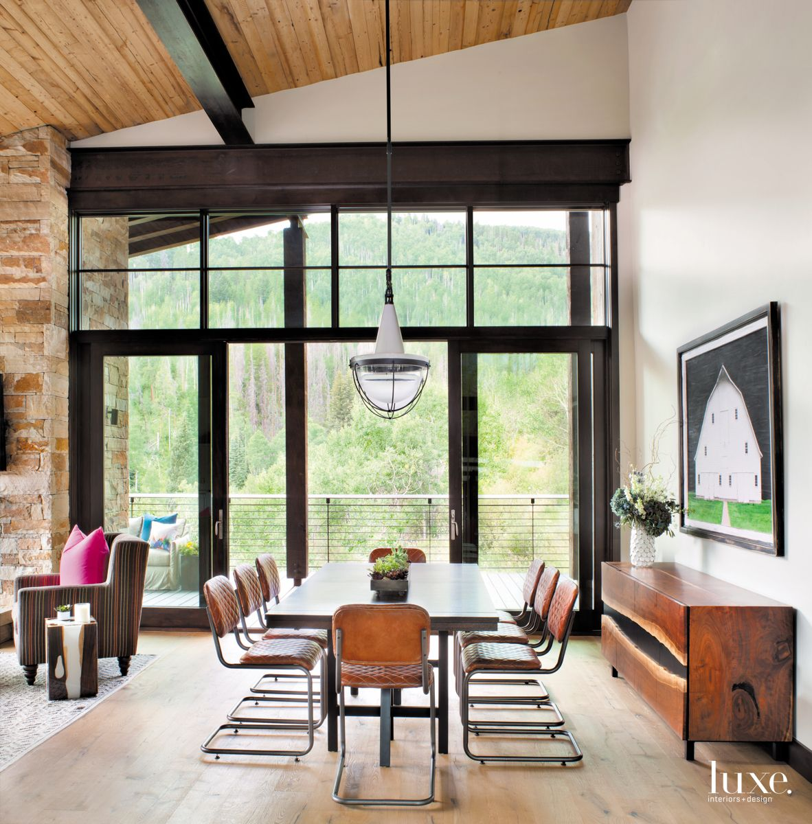 Barn Artwork Dining Room with Mountain Views