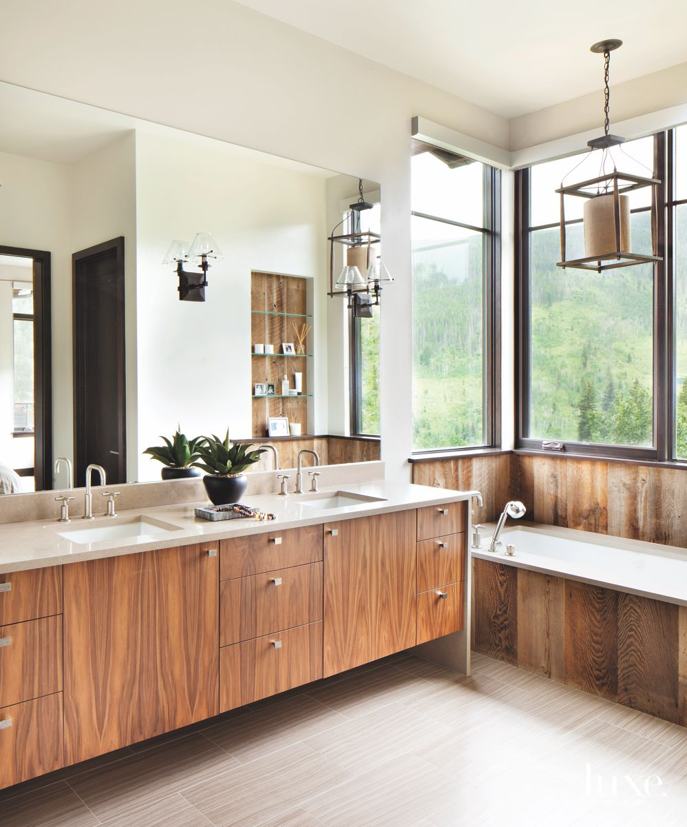 Reclaimed Wood Master Bathroom with Tub and Pendants
