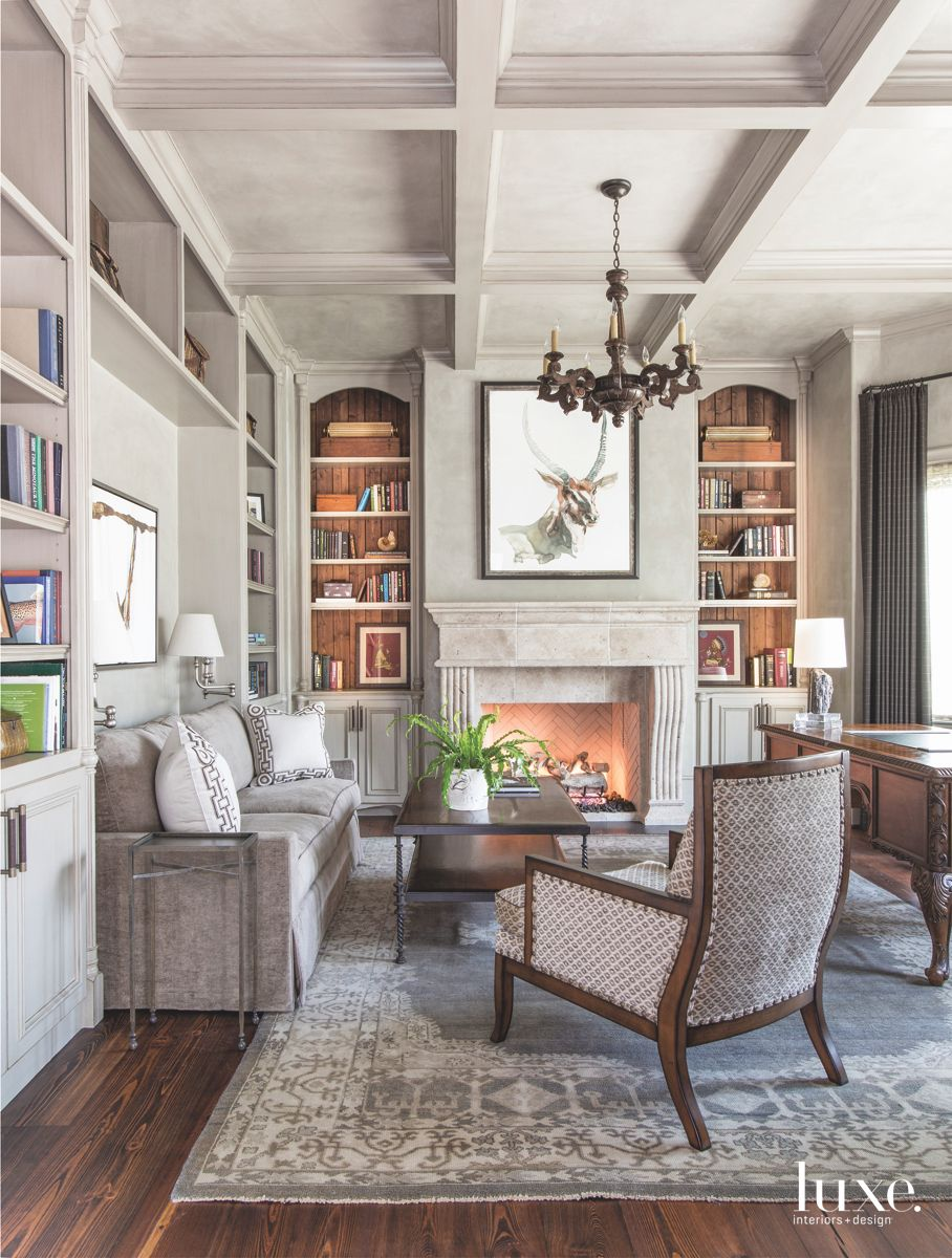 Gray Plaster Coffered Ceiling Study with Antelope Artwork and Fireplace