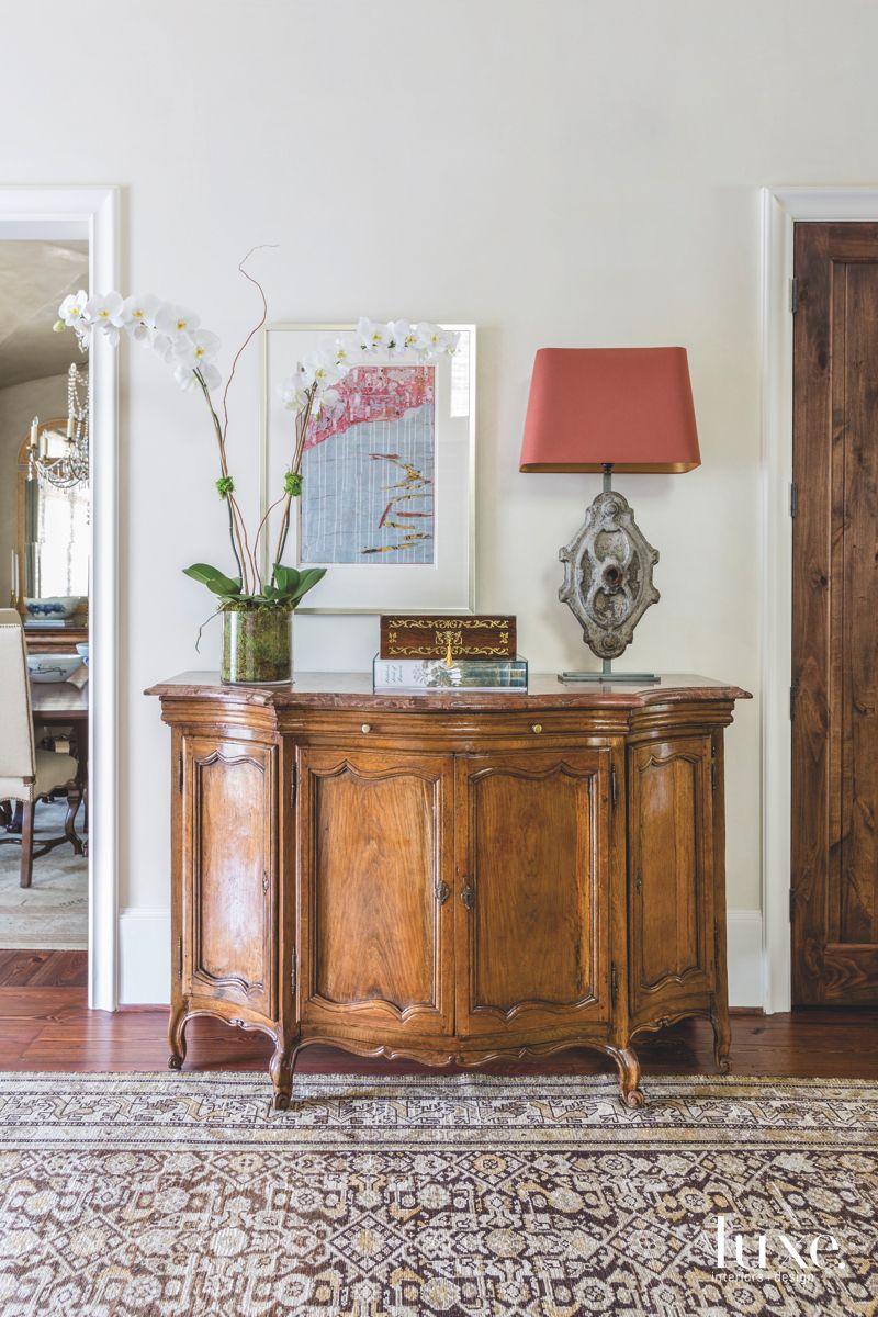 Orchid Hallway Storage Credenza with Artwork and Rug