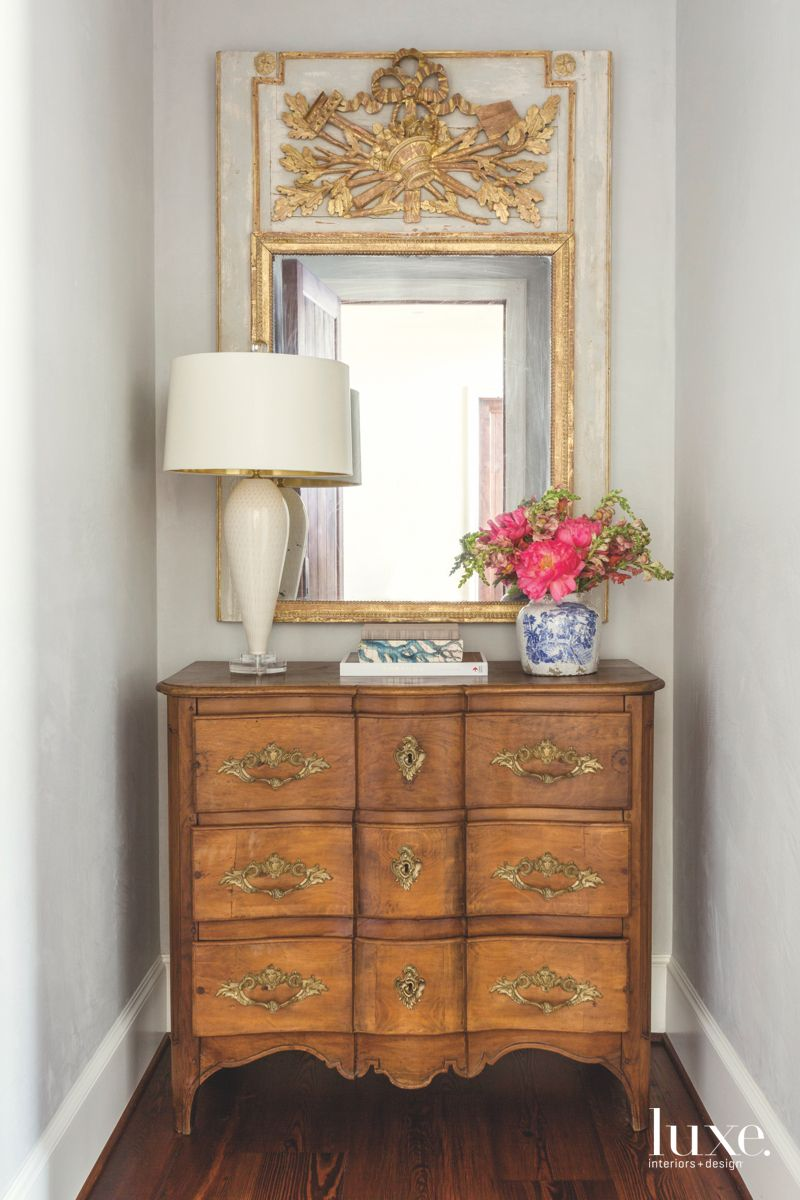 Walnut Commode Chest Storage Corner Vignette with Mirror and Lamp
