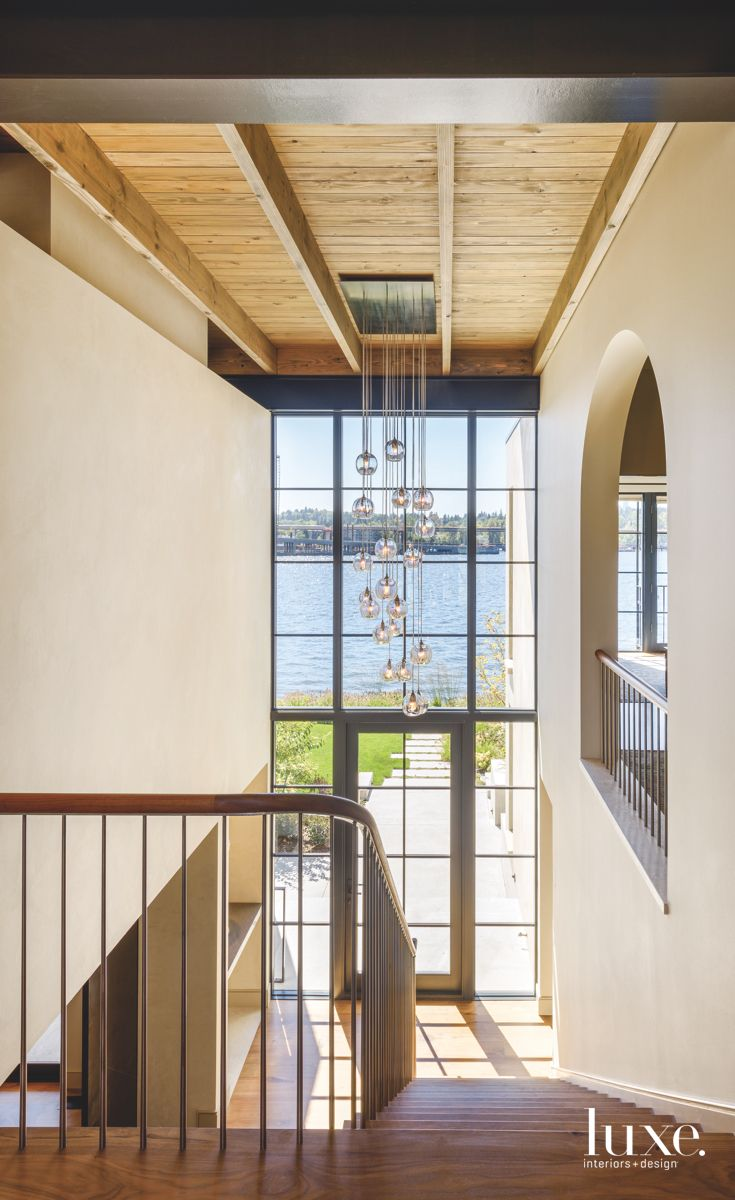 Bauble Chandelier with Water Views in the Entryway