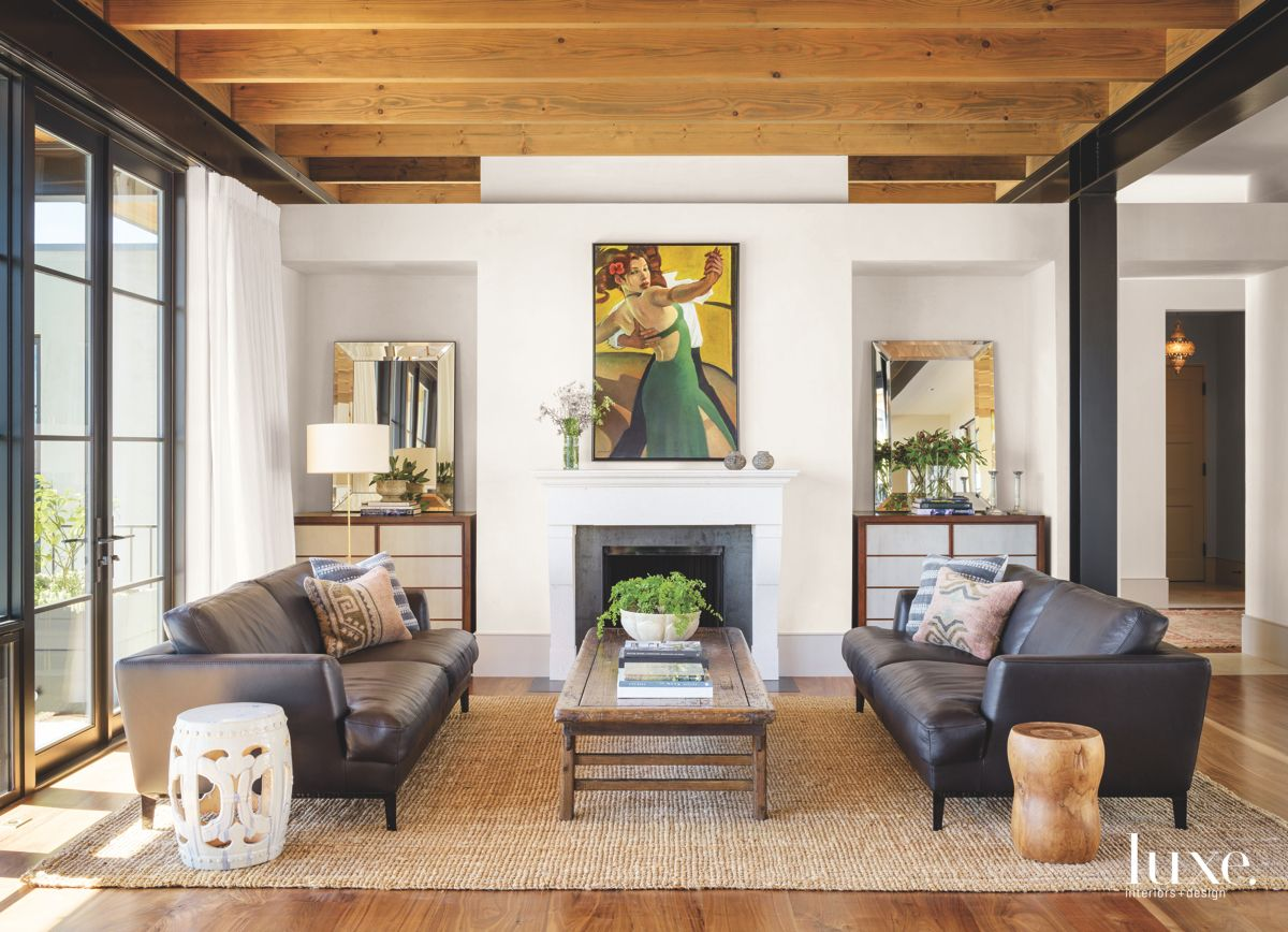 Contemporary Living Room with a Pop of Tango Art and Fireplace
