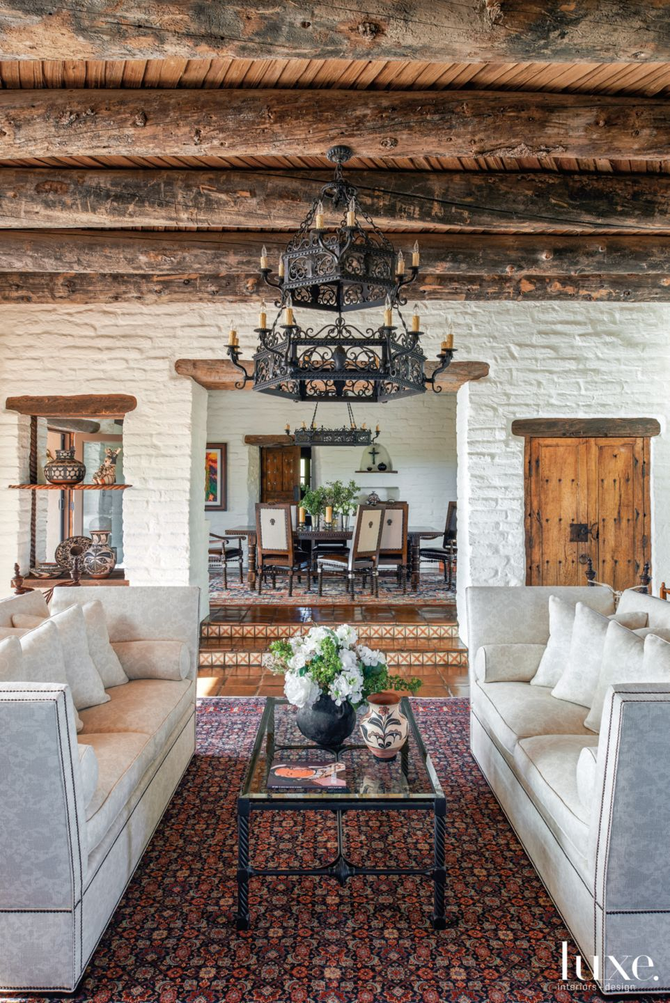 Mediterranean Neutral Great Room with Whitewashed Abode Brick Walls
