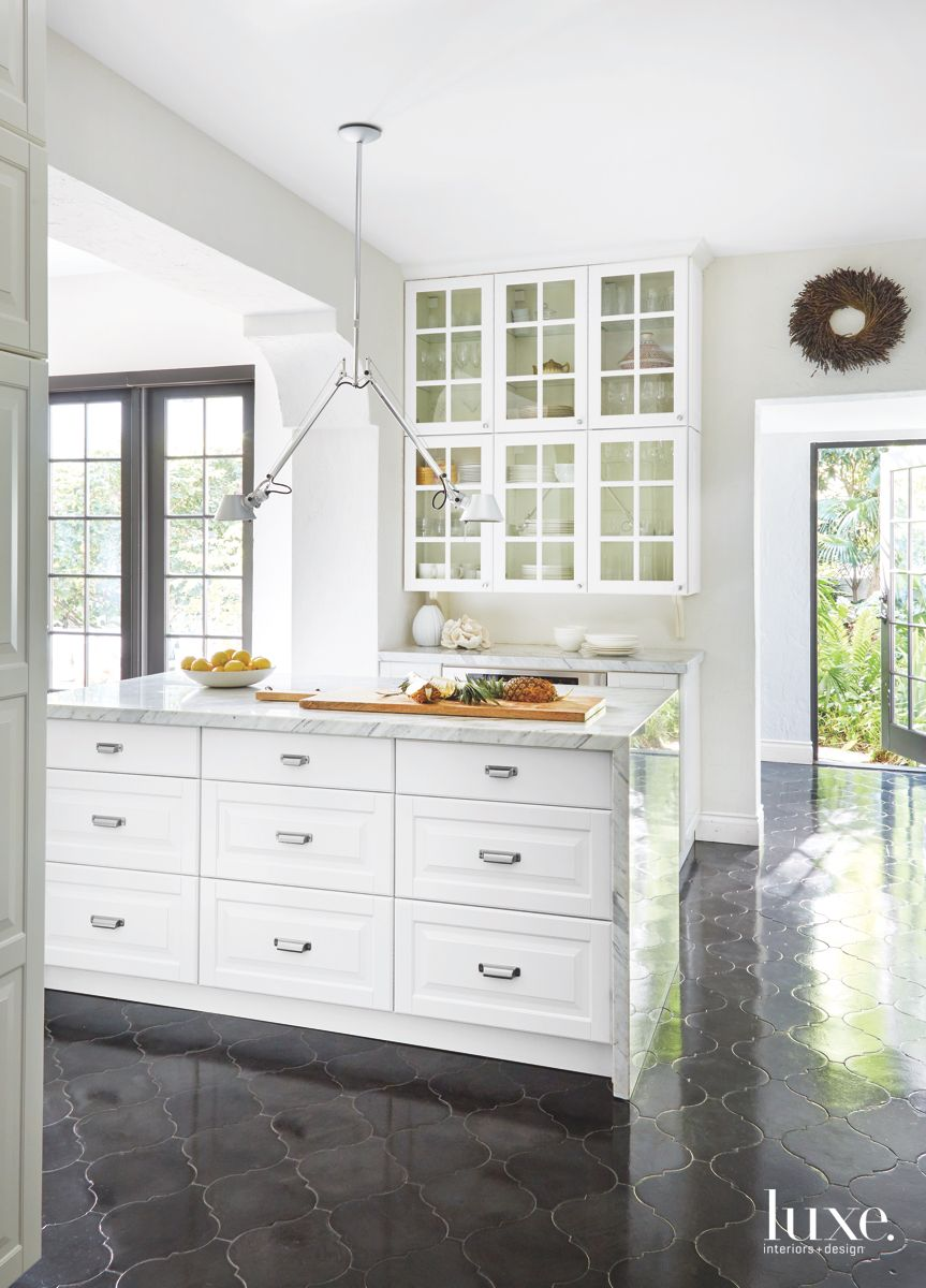 Calacatta Marble White Kitchen Island with Cabinetry