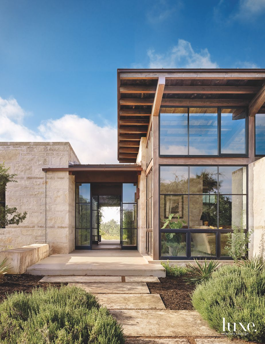 Contemporary Beam Roof with Glass Grid Pattern Exterior