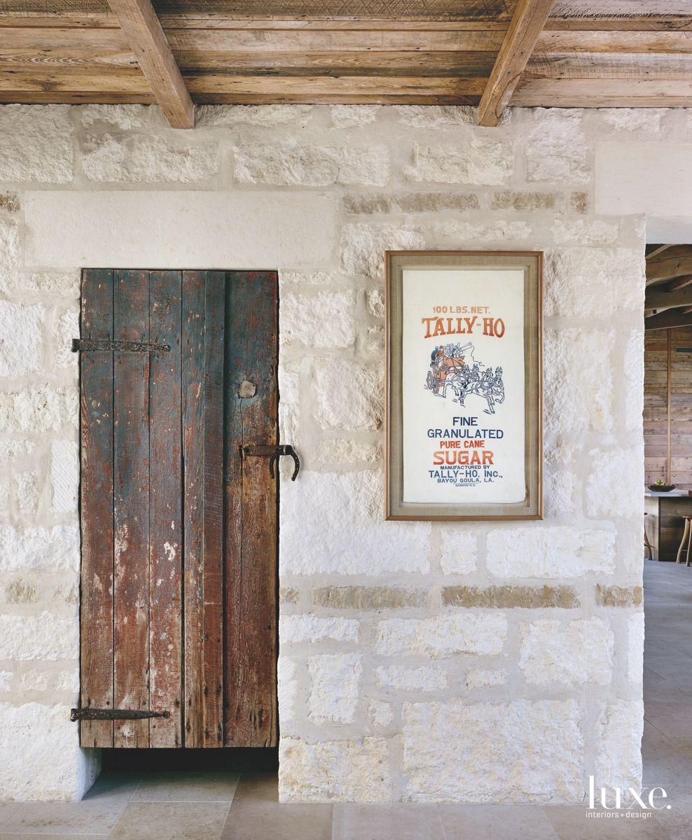 Antique Door Entrance with Poster on the Wall