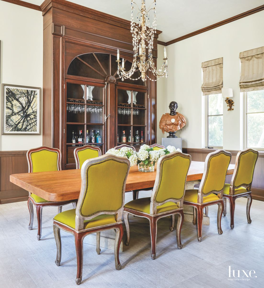 Lime Green Dining Chairs and Custom Seashell Chandelier