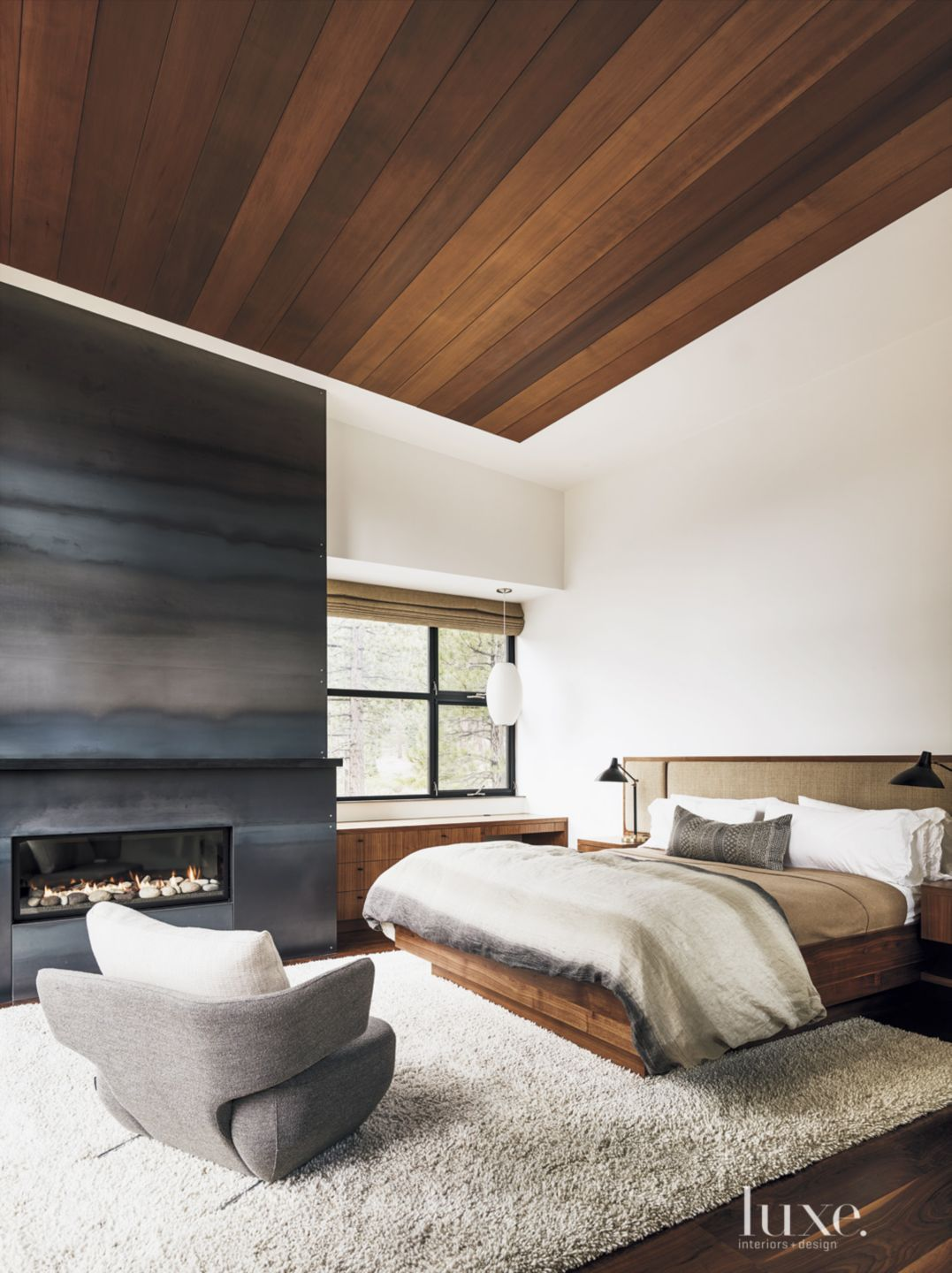 Contemporary Neutral Bedroom with Walnut Bed