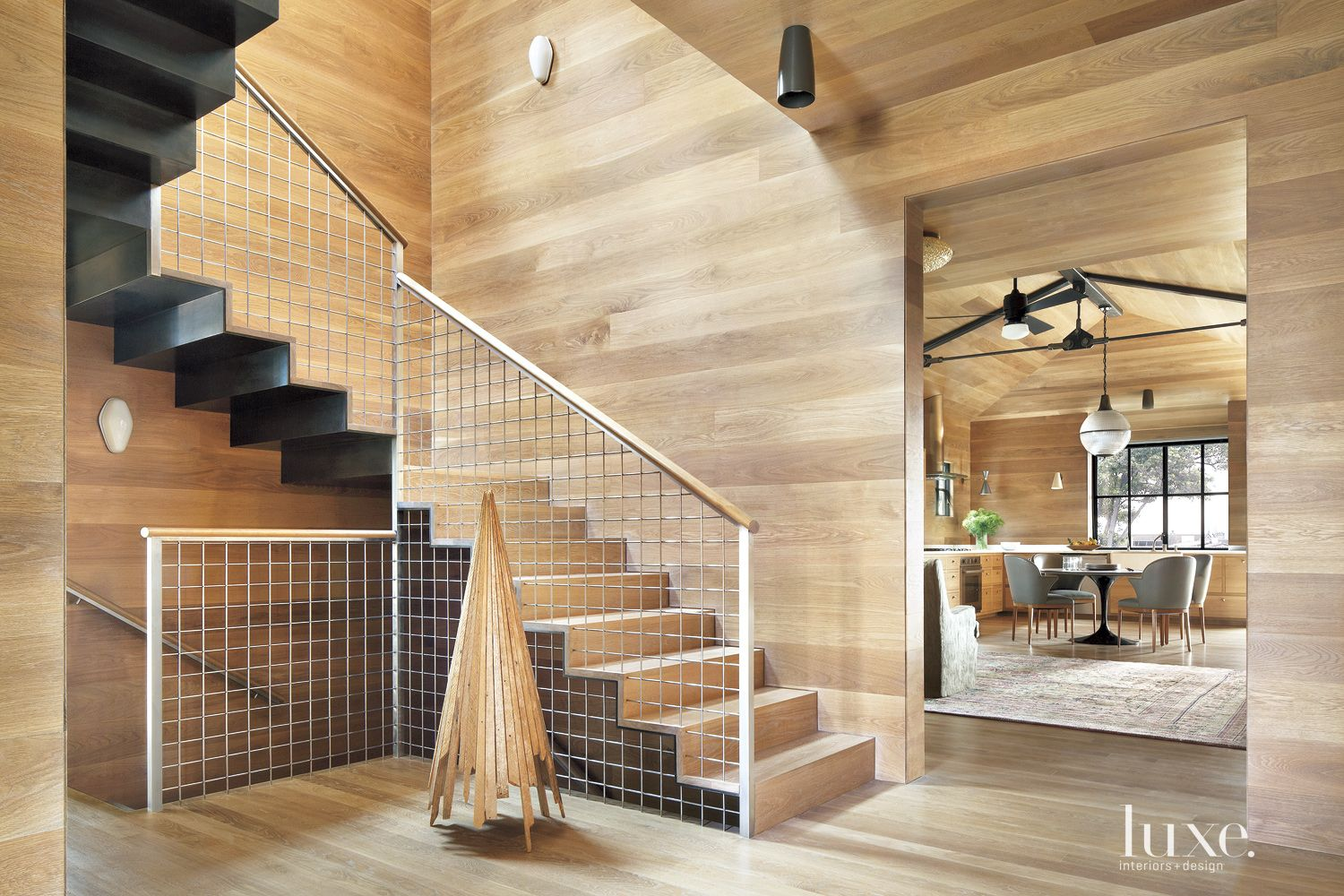 Contemporary Steel Staircase with Custom Railings