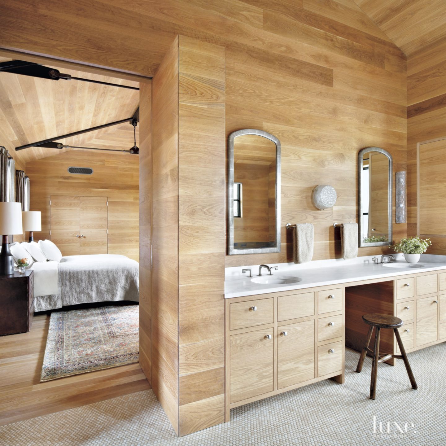 Contemporary White Oak Master Bathroom with Built-In Cabinetry