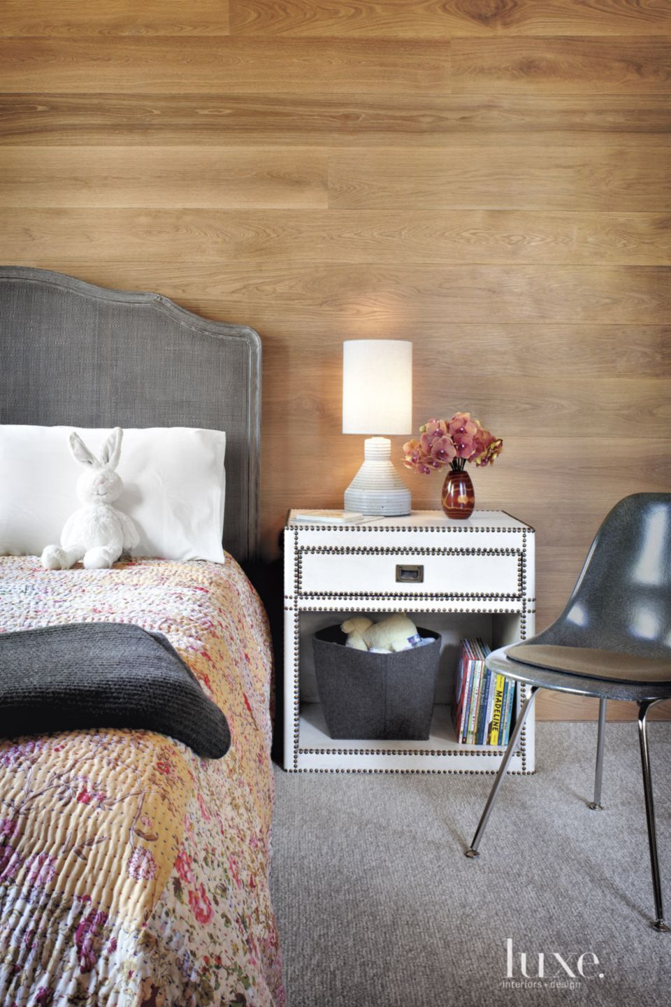 Contemporary White Oak Children's Bedroom with Wool Carpeting