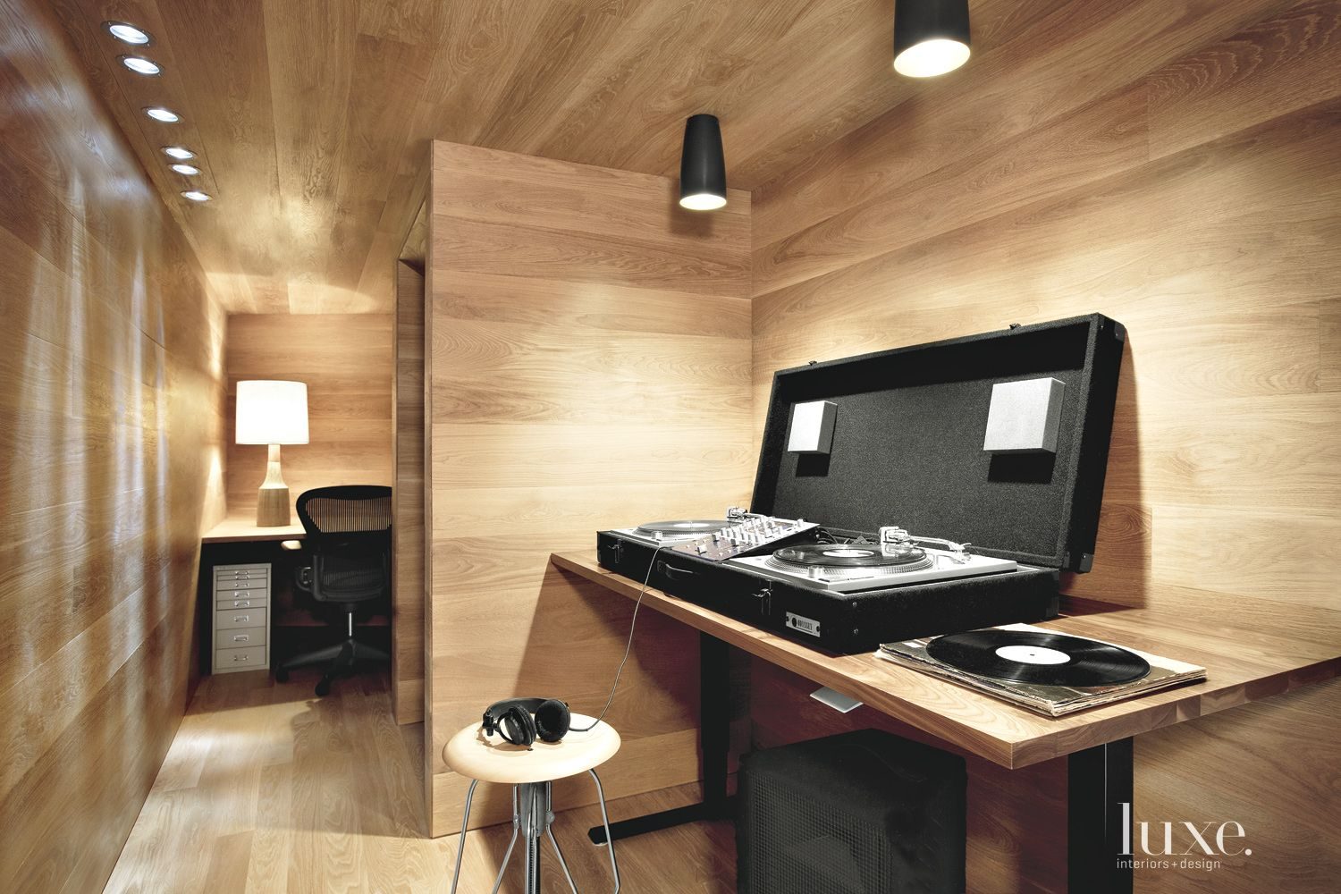 Contemporary White Oak Study and Music Room