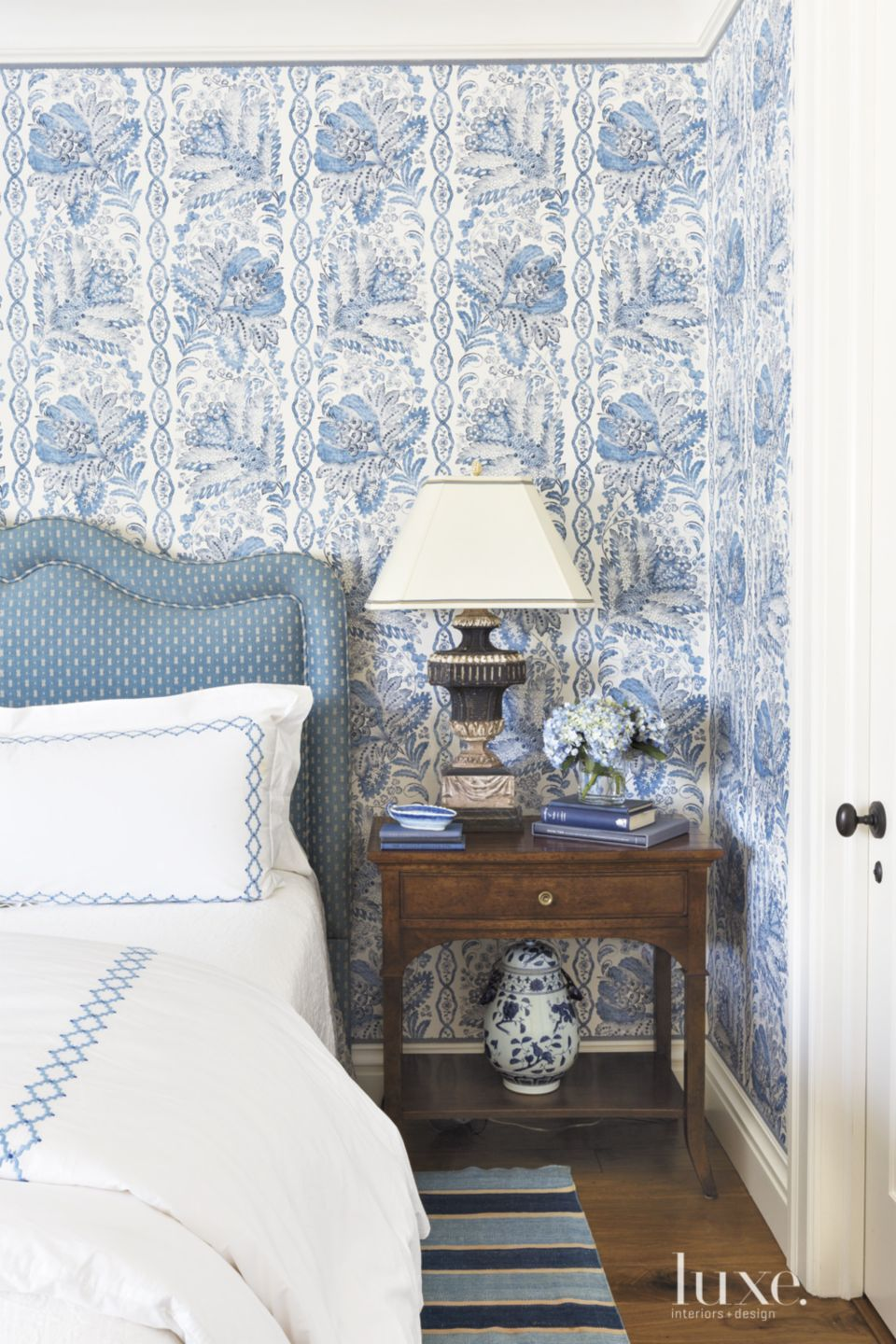 Traditional Blue Bedroom with Vintage Italian Lamp